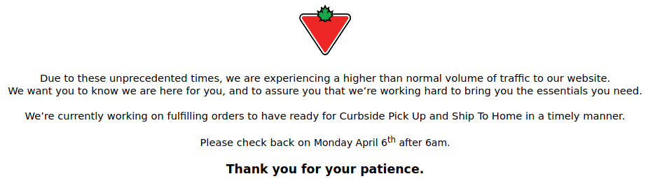 Problem on the Canadian Tire Website