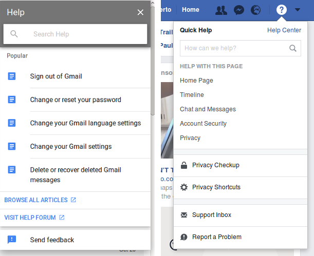Gmail and Facebook help systems