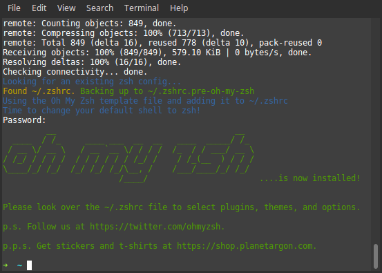 Oh-my-zsh installed